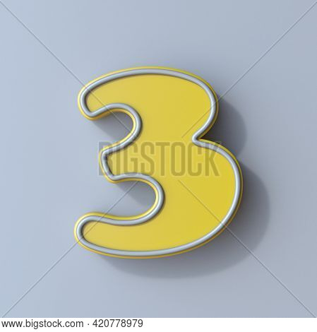 Yellow Cartoon Font Number 3 Three 3d Render Illustration Isolated On Gray Background