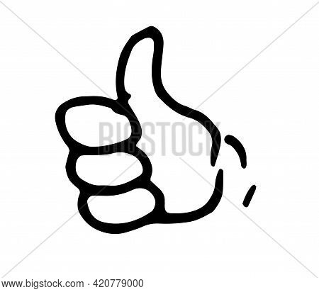 Vector Cartoon Hand With Finger Up. Isolated Okey Gesture, Hand-drawn Black Outline Of A Hand With A