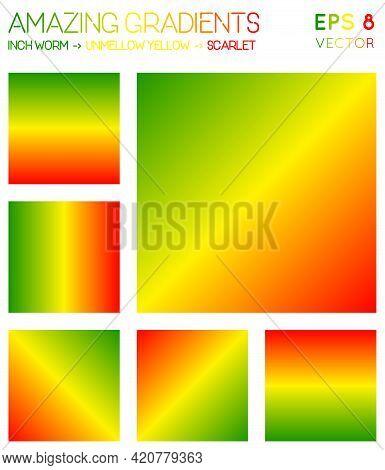 Colorful Gradients In Inch Worm, Laser Lemon, Scarlet Color Tones. Adorable Background, Gorgeous Vec