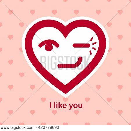 Blinking Heart Cheerful Adorable Facial Expression, Isolated Vector Conceptual Icon Or Logo Design,