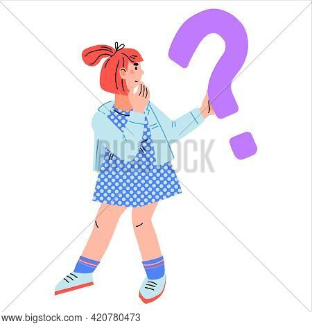 Cartoon Girl With With Confused Expression And Question Mark, Flat Vector.