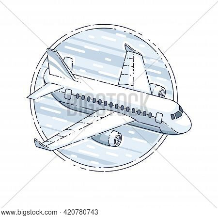 Plane Airliner With Round Shape, Airlines Air Travel Emblem Or Illustration. Beautiful Thin Line Vec