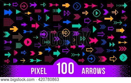 8 Bit Pixel Arrows Vector Big Set Of Icons, Collection Of Arrow Direction Cursors In Old Pc Or Gamin