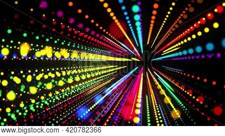 Abstract 3d Background With Glowing Particles Lined Up In Rows In 3d Space. Festive Bg With Multicol