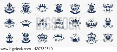 Heraldic Coat Of Arms With Crowns Vector Big Set, Vintage Antique Heraldic Badges And Awards Collect