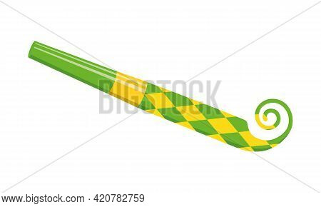 Unrolling Party Blower, Birthday Horn. Green And Yellow Noisemaker With Rhombus Pattern Isolated On