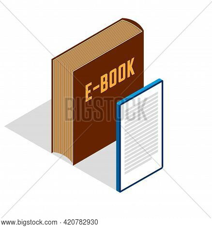 Electronic Book Concept With Cell Prone Gadget 3d Isometric Vector Design, Online Reading, Book Web