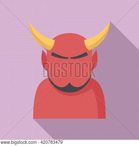 Devil Man Icon. Flat Illustration Of Devil Man Vector Icon For Web Design