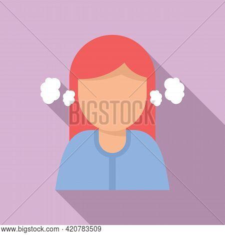 Depressed Girl Icon. Flat Illustration Of Depressed Girl Vector Icon For Web Design