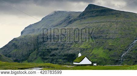 Old Famous Lutheran Church in Saksun village,  Faroe Islands, Denmark