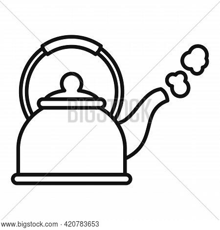 Boiling Kettle Icon. Outline Boiling Kettle Vector Icon For Web Design Isolated On White Background
