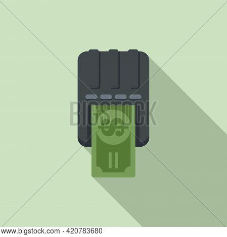Bank Teller Cash Icon. Flat Illustration Of Bank Teller Cash Vector Icon For Web Design