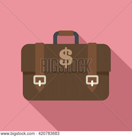 Bank Teller Briefcase Icon. Flat Illustration Of Bank Teller Briefcase Vector Icon For Web Design