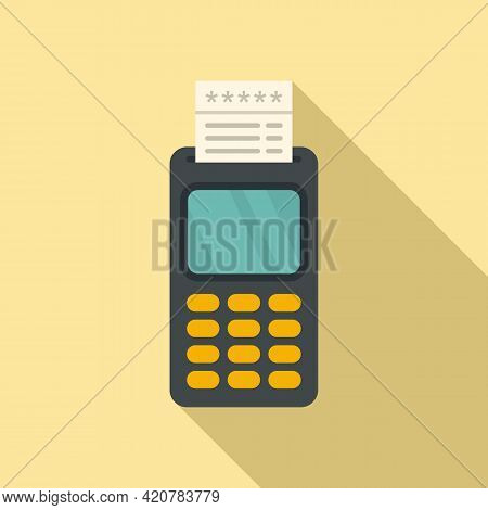 Bank Teller Payment Machine Icon. Flat Illustration Of Bank Teller Payment Machine Vector Icon For W
