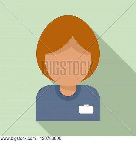 Bank Teller Woman Icon. Flat Illustration Of Bank Teller Woman Vector Icon For Web Design