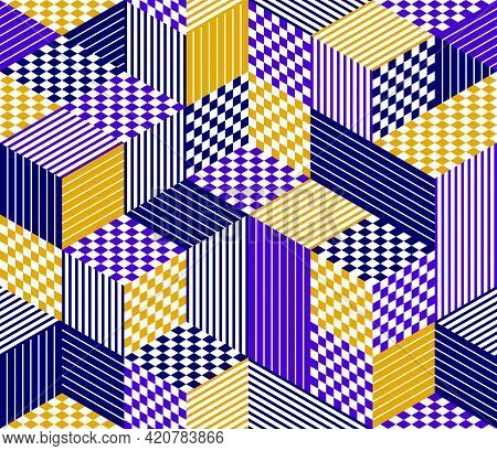 Seamless Isometric Rhombus And Triangles Geometric Pattern, 3D Cubes Vector Tiling Background, Archi