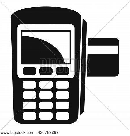 Bank Teller Pos Machine Icon. Simple Illustration Of Bank Teller Pos Machine Vector Icon For Web Des