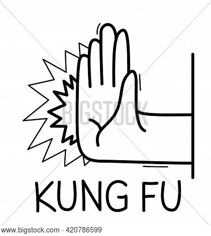 Hand Shows Kung-fu Punch Sign Self-defense Vector Flat Style Illustration Isolated On White.