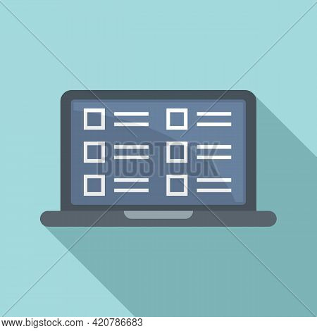 Syllabus Laptop Icon. Flat Illustration Of Syllabus Laptop Vector Icon For Web Design