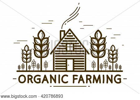 Farm House With Spikes Farming Vector Emblem Or Logo Isolated On White Background, Woodhouse And Whe