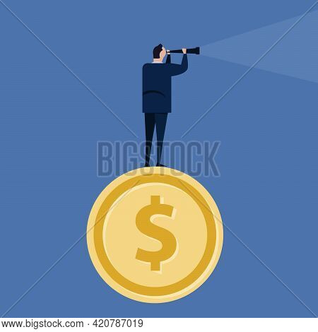 Visionary Leader In Business Looking Through Telescope For Company Future Standing At Money Coin Loo