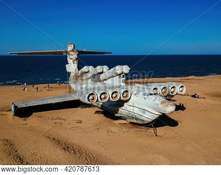 Abandoned Soviet Lun-class Ekranoplan On The Coast Of The Caspian Sea, Aerial View.