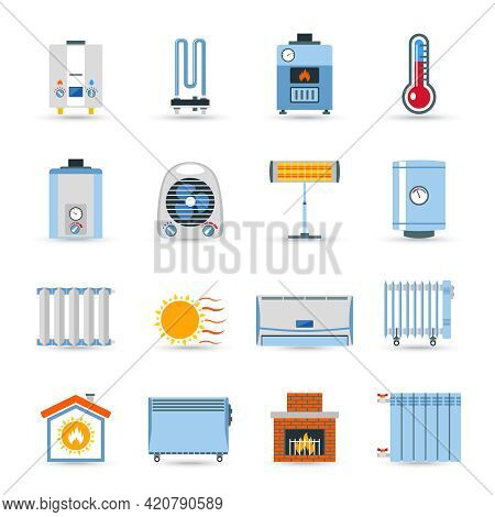 Heating Devices Boilers Radiators And Emitter Or Fireplace Flat Color Icon Set Isolated Vector Illus