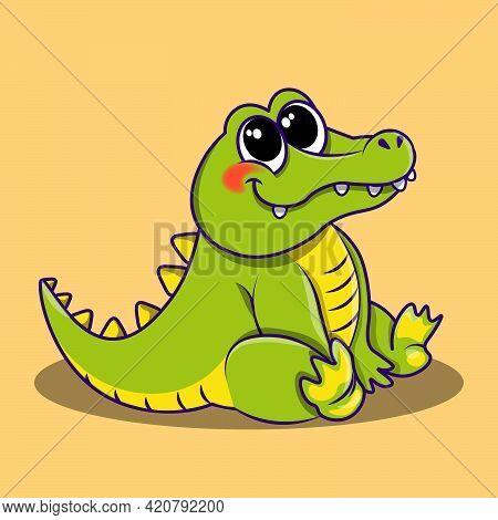 Crocodile Cute Cartoon Illustration. Crocodile Is Sitting And Looking Cute. Flat Vector Illustration