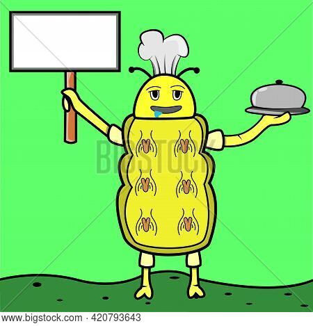 Vector Of Yellow Drool Caterpilar With Blank Name Plate And Fast Food, Green Background. Perfect For