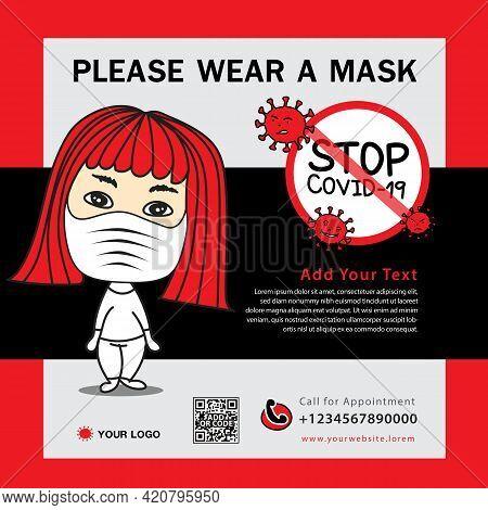 Healthcare Post Social Media Template With Women Wearing A Surgical Mask Cartoon Vector, Coronavirus