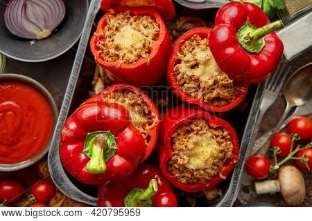 Red peppers stuffed with beef meet and mozarella cheese with herbs and garlic