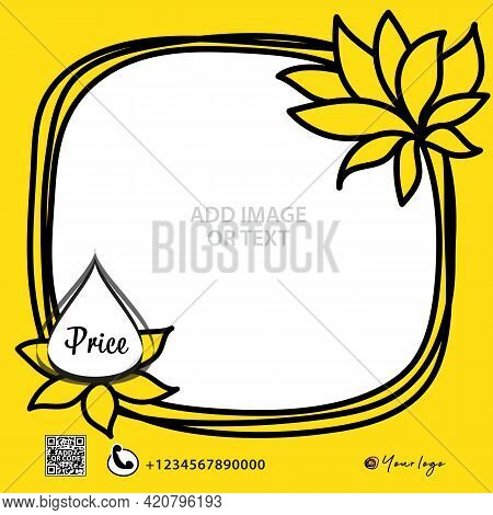 Social Media Post Design, Yellow Frame Banner Vector, Web Banner Design, Square Banner Template, Adv