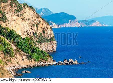 Majestic View Of Adriatic Sea High Cliffs . Beautiful Nature Of Montenegro With Mountains And Sea .
