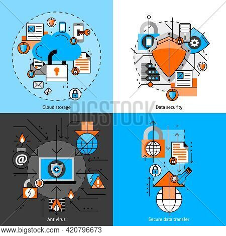 Data Security And Storage Line Icons Set With Cloud Antivirus And Transfer Flat Isolated  Vector Ill