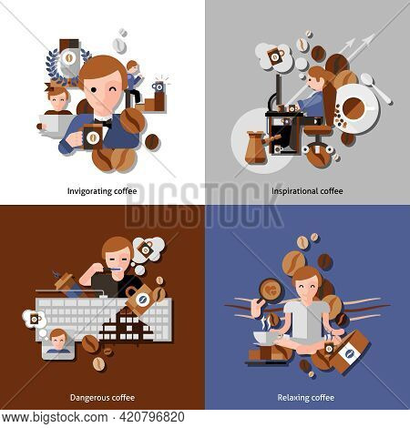 Coffee And Relax In The Morning Icons Set With Inspiration And Invigoration Flat Isolated Vector Ill