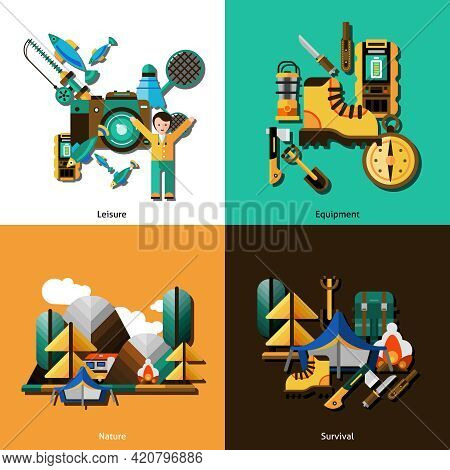 Camping And Survival Icons Set With Equipment And Nature Flat Isolated Vector Illustration