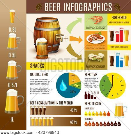 Traditional Beer Brewery Production Consumption Preferences And Distribution Diagrams Statistic Info
