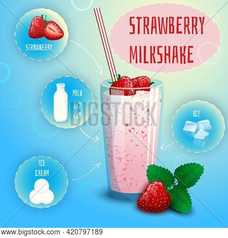 Delicious Strawberry Milkshake Smoothie Recipe Graphic Presentation With Infographic Elements Decora