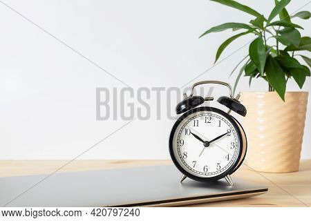 Classic Black Alarm Clock, Laptop And Potted Plant On Wooden Table With White Background And Copy Sp