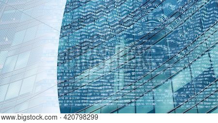Composition of binary coding over modern office building. global business, connections and technology concept digitally generated image.