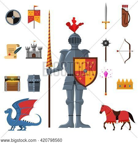 Medieval Kingdom Legendary Armored Knight Warrior With Lance And Attributes Flat Icons Set Abstract