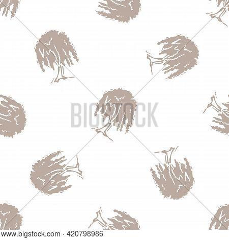 Seamless Minimalist Doodle Tree Pattern Background. Calm Boho Earthy Tone Color Wallpaper. Modern Sc