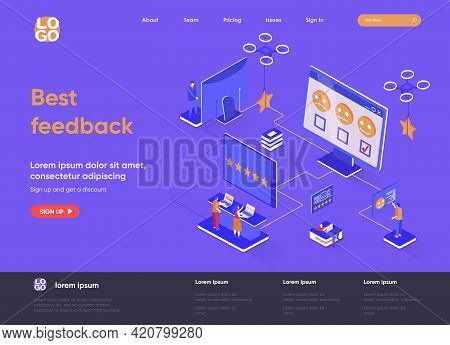 Best Feedback Isometric Landing Page. Online Customers Opinion, Rating And Review Isometry Concept.