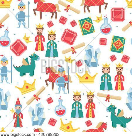 Fairytale Seamless Pattern With Magic Medieval Games Personages Vector Illustration