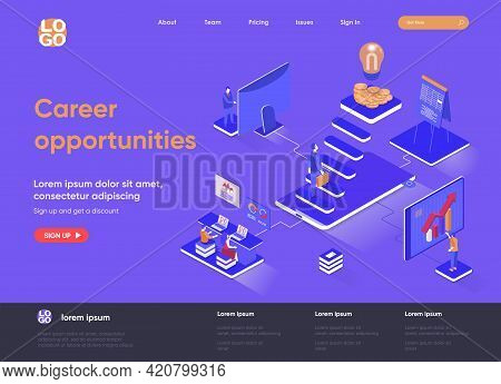 Career Opportunities Isometric Landing Page. Professional Career Path, Opportunity For High Skilled