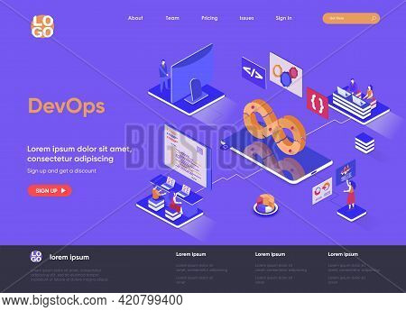 Devops Isometric Landing Page. Development Operations, Administration And Monitoring Isometry Concep