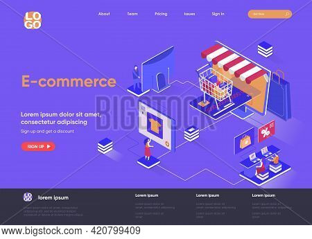 E-commerce Isometric Landing Page Design. Online Shopping Marketplace Isometry Concept. Retail Distr
