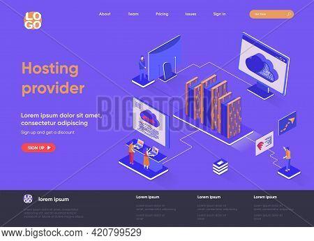 Hosting Provider Isometric Landing Page. Website Hosting Service Isometry Concept. Internet Provider