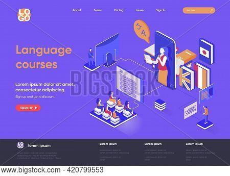 Language Courses Isometric Landing Page. Online Language Tutors, Teaching Service Isometry Concept.
