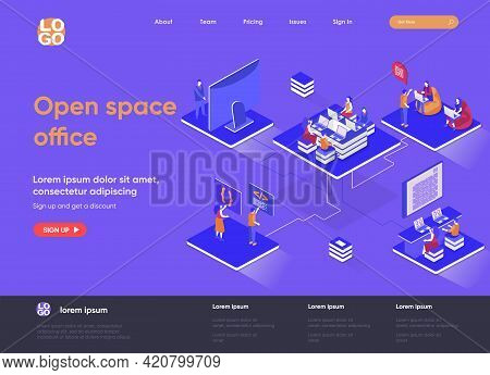 Open Space Office Isometric Landing Page. Collaboration At Coworking Open Space Isometry Concept. Co